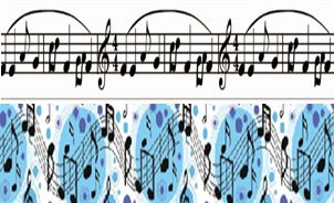 Midi 2 Nastri di Note Musicali con Nastro a Costine, Nastro per Regali, Nastro Decorativo, Lunghezza 5 m, Larghezza 1,6 cm