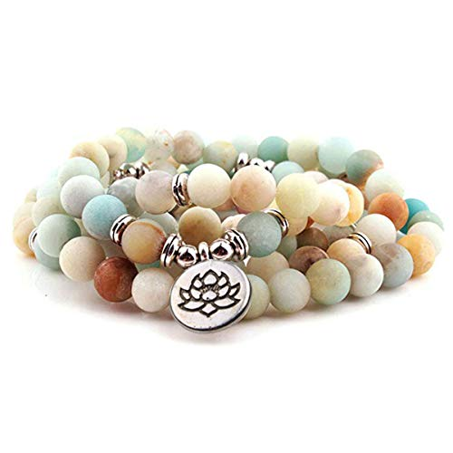 GVUSMIL Amazonite 108 Mala Beads Yoga Necklace Natural Stone Charm Bracelet for Women Men Yoga Bangle