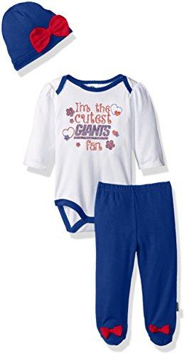 NFL New York Children Girls Bodysuit, Pant & Cap Set, 3-6 Months, Giants