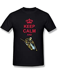 Mens T Shirts Keep Calm Skiing Black