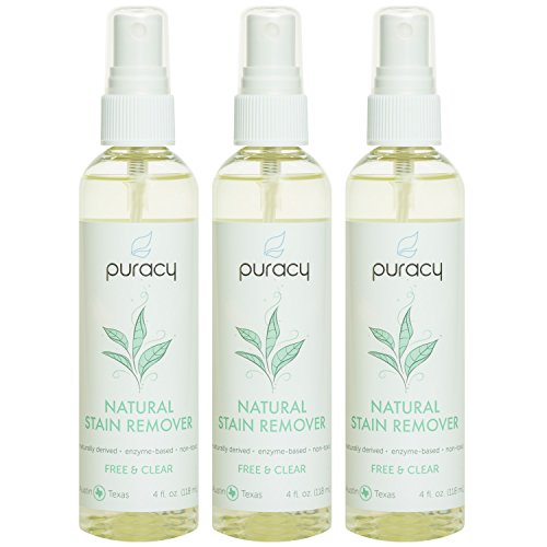 Puracy Natural Enzyme Stain Remover [3-Pack], BEST Travel Size Clothing Cleaner, Nontoxic Laundry Spot and Odor Eliminator, Safe for All Fabrics, Free & Clear, 4 Ounce Spray Bottle [Set of (Non Toxic Stains)