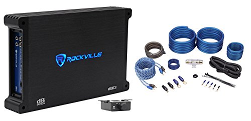 Rockville dB13 3000 Watt Peak / 750w RMS @ 2 Ohm CEA Compliant Mono Car Amplifier+Amp Kit