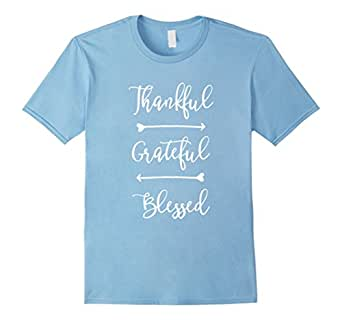 Men's Thankful Grateful Blessed T-Shirt 2XL Baby Blue