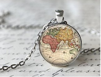 World Map Necklace Antique Map Necklace Globe Necklace Amazon
