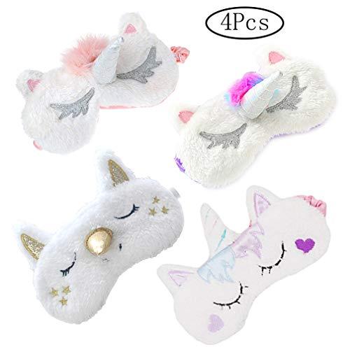 4 Pack Unicorn Sleeping Sleep Mask Soft Plush Blindfold Cute Unicorn Horn Eye Cover Eyeshade for Kids Teens Girls Women