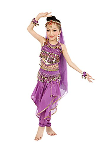 So Sydney Girls Kid Childrens Deluxe Belly Dancer Halloween Costume Complete Set (S (4/5), Purple) (Genie Costumes For Kids)