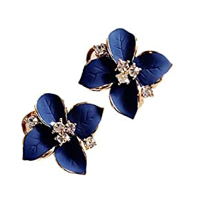 Demarkt Fashion Elegant Cute Lady Girls Blue Flower Crystal Ear Stud Earrings