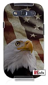Distressed America National Flag USA with Bald American Eagle Unique Quality Soft Rubber TPU Case for Samsung Galaxy S4 I9500 - White Case