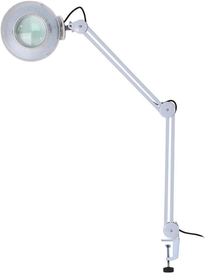 AYNEFY Lupa de 8 dioptrías lámpara con lupa, LED lámpara cosmética con abrazadera, LED lámpara lupa luz fría blanca para esteticista laboratorio y trabajos de precisión