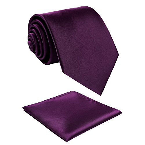 Fortunatever Classical Men's Solid Necktie With Gift Box+Pocket Square (Plum Purple) by fortunatever