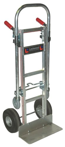 """Price comparison product image Lockwood LCT-AS Aluminum Convertible Hand Truck, Pneumatic Wheel, 500/1000 lbs Load Capacity, 61-1/2"""" Height, 38"""" Length x 12"""" Width"""