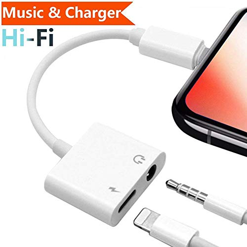 Adapter 3.5mm Aux Headphone Jack Adaptor Charger for iPhone 8/8Plus iPhone7/7Plus iPhone X/10 iPhone Xs/XSmax, 2 in 1 Earphone Audio Connector Jack Splitter Cable Accessories, Suppor IOS11-12 -White