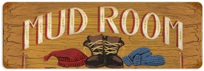 Old Time Signs Mud Room Metal Sign Wall Decor 24 x 12