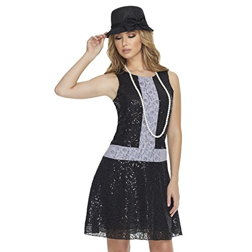 Mystery House Women's 1920's Flapper, Black/Grey, (Hollywood Flapper Sexy Costumes)