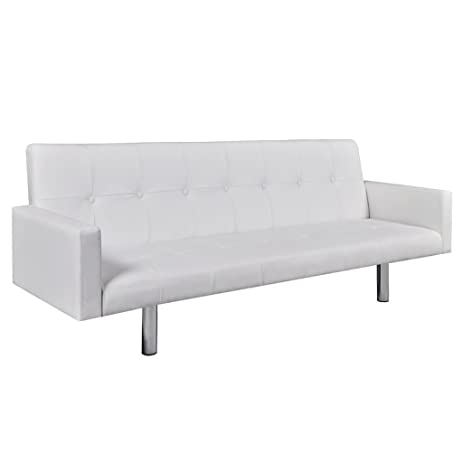 Festnight Faux Leather Sofa Bed Sleeper With Armrests, White/Black