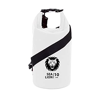 Adventure Lion Premium Waterproof Dry Bag With Shoulder Strap & Grab Handle, Roll Top Dry Sack Great For Kayaking, Swimming, Boating (White, 10 Liter)