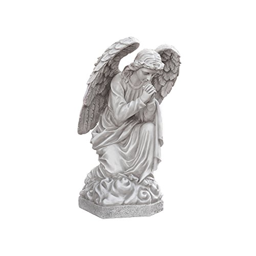 Design Toscano DB24728 Praying Basilica Angel Kneeling Outdoor Garden Statue, 26 Inch, Antique Stone