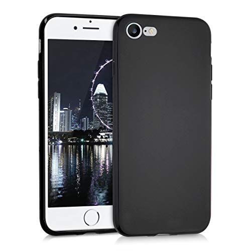kwmobile TPU Silicone Case for Apple iPhone 7/8 - Soft Flexible Shock Absorbent Protective Phone Cover - Black Matte