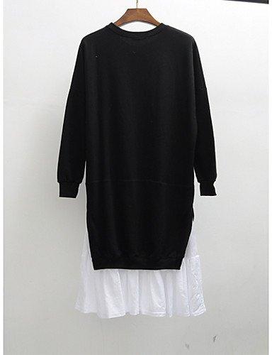PU&PU Robe Aux femmes Ample Mignon,Mosaïque Col Arrondi Au dessus du genou Coton , black-8 , black-8