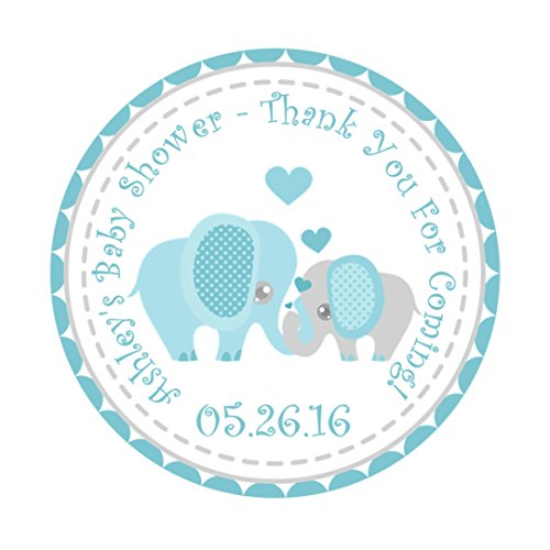 Aqua Elephant Baby Shower Favor Stickers by Party Beautifully