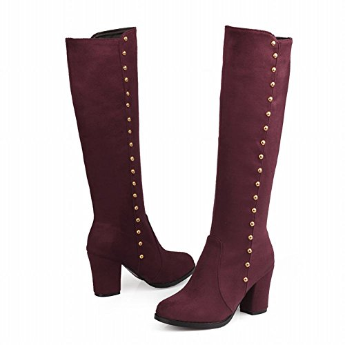 Classic Comfort Rivets Wine Red High Knee Carolbar Heel Boots Women's High F5xn6q