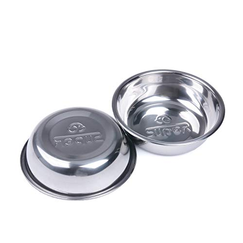 Super Design Stainless Steel Pet Bowl Package for Dogs and Cats, 1 Pack of 2, S