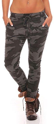 malito Jeans im Camo-Style Sweatpants Chinohose Boyfriendhose Cargohose Freizeithose Baggy Jogginghose Sporthose J2016 Damen (XS, anthrazit)