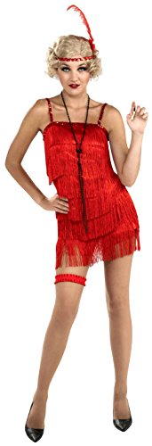 Forum Novelties Women's Roaring 20's Flirty Flapper Costume, Red, Medium/Large -