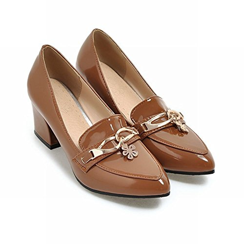 Latasa Femmes Bout Pointu Chunky Talons Slip Ons Mocassins Chaussures Marron Clair
