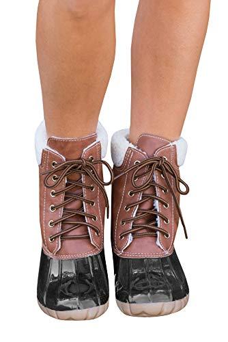 Ivay Women's Lace Up Two Tone Combat Waterproof Duck Rain Boot Outdoor Shoes U4 Brown