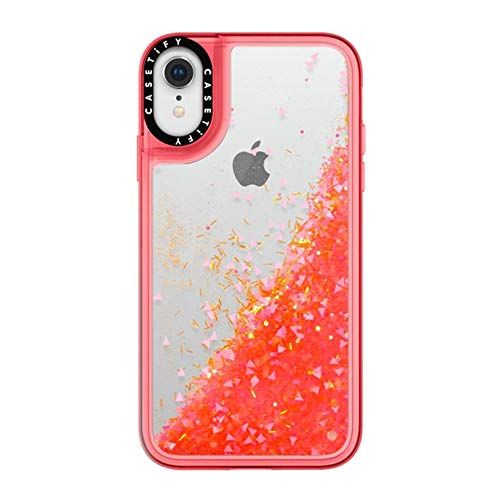 Case Glow - Casetify Glitter iPhone XR Case with Glow in The Dark Floating Glitter Sparkle in Liquid Clear Back and Shockproof Drop Proof Frost Bumper and Wireless Charging Compatibility for Apple iPhone XR