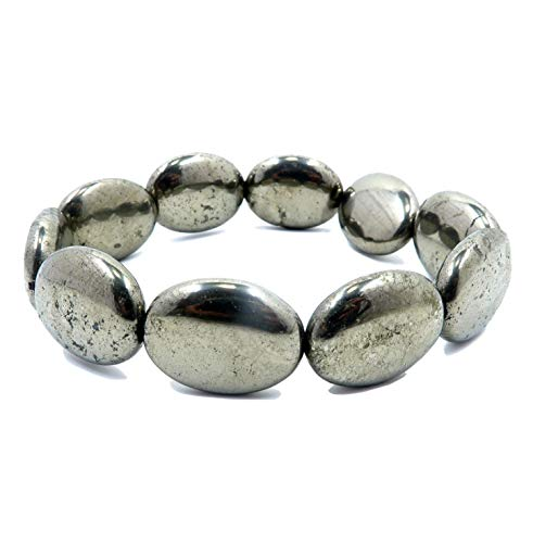 I Dig Crystals Pyrite Bracelet Boutique Gold Iron Shiny Genuine Gemstone Stretch Handmade Healing Chunky Oval B03 (7