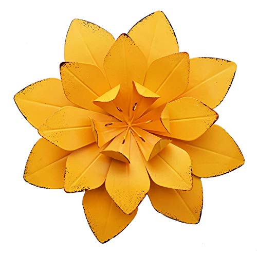 GIFTME 5 Yellow Metal Layered Flower Wall Decor for Bathroom Livingroom Garden Indoor or Outdoor Wall Sculptures(10X2 inch) (For Flowers Wall Metal)