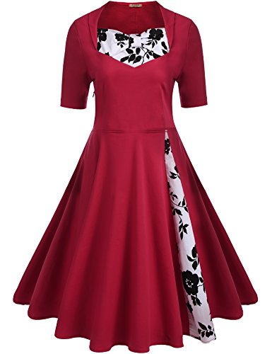 ACEVOG Women's Classic A Line Pleated 1950s Vintage Dresses Rockabilly Swing Party Cocktail Dress,Red,L