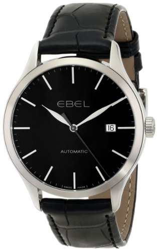 EBEL-Mens-1216089-Ebel-100-Stainless-Steel-Watch-with-Black-Leather-Band