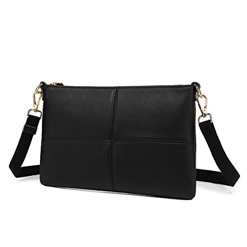 Women Leather Crossbody Bag,Clutch Purse Shoulder Bag for Travelling Black