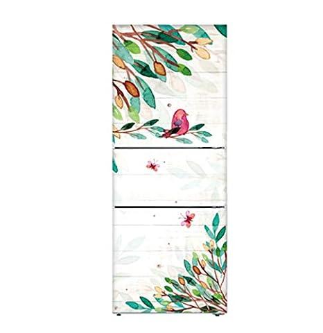 Hoja verde y pájaro extraíble 3d Diy nevera pegatina cubierta ...