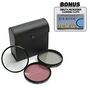 Digital Concept High Resolution 3-piece Filter Set (UV, Fluorescent, Polarizer) For The Nikon D3, D40, D40X, D50, D60, D70, D80, D90, D100, D200, D300, D700 Digital SLR Cameras Which Have Any Of These (18-200mm, 24-120mm, 135mm, 180mm, 24-85mm)Nikon Lenses