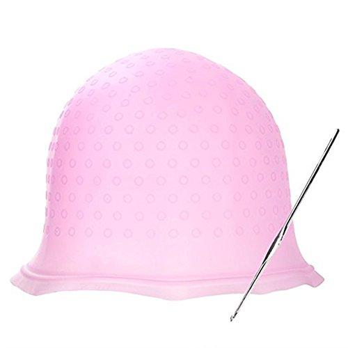 Silicone Hair Coloring Highlighting Dye Cap with Metal Hair Hook for Dyeing Highlighting Hair (Pink)