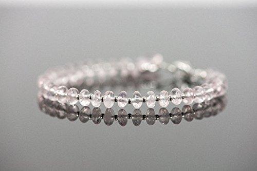 (Rose Quartz Bracelet, Delicate Genuine Gemstone Bracelet, Horseshoe Charm Bracelet, Gemstone Bracelet, Handmade Jewelry, Gemstone Jewelry 6mm - 6.5mm)