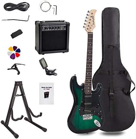 Display4top - Kit de guitarra eléctrica de tamaño completo para principiantes, incluye amplificador de 20 W, soporte para guitarra, bolsa, púa de guitarra, correa, cuerdas de repuesto, afinador: Amazon.es: Instrumentos musicales