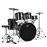Best Choice Products 5-Piece Full Size Complete Adult Drum Set w/ Cymbal Stands, Stool, Drum Pedal, Sticks, Floor Tom (Black)