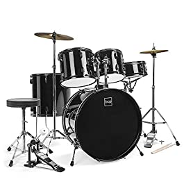Best Choice Products 5-Piece Full Size Complete Adult Drum Set w/ Cymbal Stands, Stool, Drum Pedal, Sticks, Floor Tom…