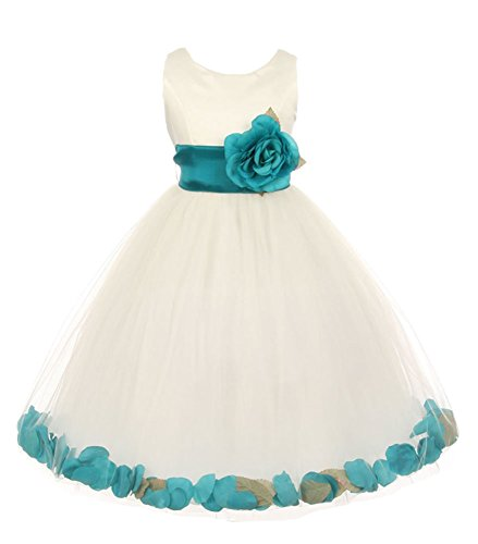 Cinderella Couture Little Girls' Ivory Tulle Petal Flower Girl Pageant Dress Teal 6 Teal Flower Girl