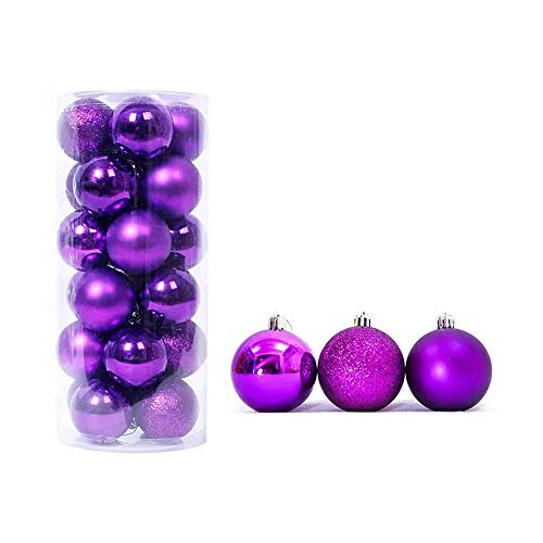 feng biao Christmas Ball Pendant, Decorative Shatterproof Christmas Tree Pendants Hanging 40mm Christmas Baubles Balls Ornaments Set Pack of 24 pcs (Purple) ()