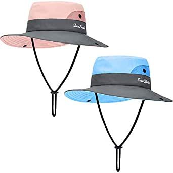 Geyoga 2 Pieces Kids Summer Sun Hat UV Protection Mesh Hat Wide Brim Bucket Cap with Ponytail Hole for Girls Wear - - One Size Pink, Blue