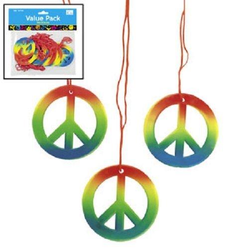 Lot of 48 Rainbow Peace Sign Necklaces Retro 60s 70s Hippie Party Favors (60s Necklace)