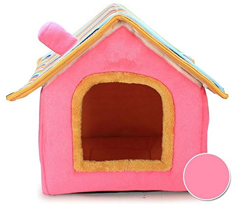 Pink L Pink L Kennel, Removable Kennel, Autumn and Winter Dog House Double Top Kennel Pet Nest Cat Litter (color   Pink, Size   L)