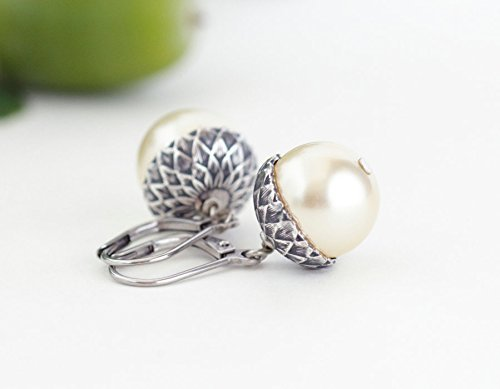 Ivory and Silver Plated Brass Acorn Earrings - Lever Back Ear Wires