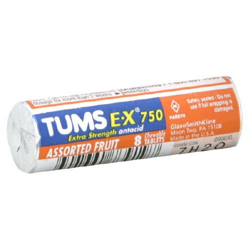 Extra Strength Roll (Tums Extra Strength 750, Assorted Fruit Flavor, Roll of 8 Chewable Tablets (Pack of 12))